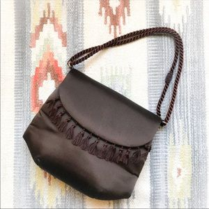 ROSENFELD Made in Spain Vintage Brown Satin Purse